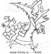 Vector of a Cartoon Woman Carrying a Dog in Her Purse and a Christmas Tree - Outlined Coloring Page by Toonaday