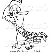 Vector of a Cartoon Woman Carrying a Harvest Basket - Coloring Page Outline by Toonaday