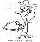 Vector of a Cartoon Woman Carrying a Roasted Turkey - Coloring Page Outline by Toonaday