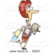 Vector of a Cartoon Woman Carrying Business Files by Toonaday
