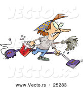 Vector of a Cartoon Woman Cleaning House Aggressively by Toonaday