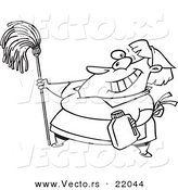 Vector of a Cartoon Woman Cleaning - Outlined Coloring Page by Toonaday