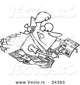 Vector of a Cartoon Woman Clipping Coupons - Outlined Coloring Page by Toonaday