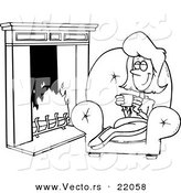 Vector of a Cartoon Woman Drinking Coffee by a Fireplace - Outlined Coloring Page by Toonaday