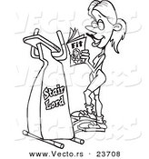 Vector of a Cartoon Woman Exercising on a Stair Lord - Coloring Page Outline by Toonaday