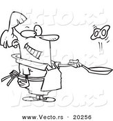 Vector of a Cartoon Woman Flipping Eggs in a Frying Pan - Outlined Coloring Page by Ron Leishman
