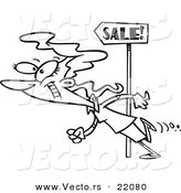Vector of a Cartoon Woman Following Sale Signs - Outlined Coloring Page by Toonaday