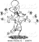 Vector of a Cartoon Woman Playing in Spring Flowers - Coloring Page Outline by Toonaday
