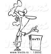 Vector of a Cartoon Woman Putting Her Ballot into a Vote Box - Coloring Page Outline by Toonaday