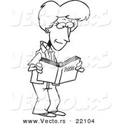 Vector of a Cartoon Woman Reading a Policy Book - Outlined Coloring Page by Toonaday