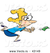 Vector of a Cartoon Woman Running After Money in the Wind by Ron Leishman