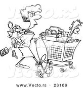 Vector of a Cartoon Woman Shopping with Her Son - Coloring Page Outline by Toonaday