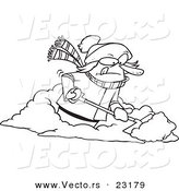 Vector of a Cartoon Woman Shoveling Snow - Coloring Page Outline by Toonaday