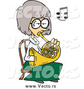 Vector of a Cartoon Woman Sitting AndPlaying a French Horn by Toonaday