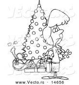 Vector of a Cartoon Woman Standing by a Christmas Tree with an Overloaded an Electrical Socket - Coloring Page Outline by Toonaday