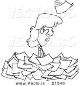 Vector of a Cartoon Woman Standing in a Pile of Paperwork - Outlined Coloring Page by Ron Leishman