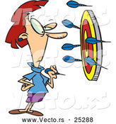 Vector of a Cartoon Woman Thinking About Putting a Dart in the Bullseye of a Target Surrounded with Darts on the Wall by Toonaday