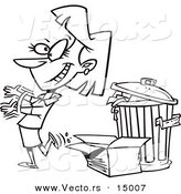 Vector of a Cartoon Woman Tossing Old Trash - Coloring Page Outline by Toonaday