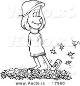 Vector of a Cartoon Woman Walking in Leaves - Outlined Coloring Page by Toonaday
