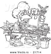 Vector of a Cartoon Woman Working in Her Pjs in Her Cluttered Home Office - Outlined Coloring Page by Toonaday