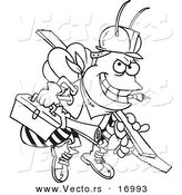 Vector of a Cartoon Worker Bee Carrying Tools - Coloring Page Outline by Toonaday