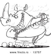Vector of a Cartoon Workout Rhino Using a Stretching Device - Coloring Page Outline by Toonaday