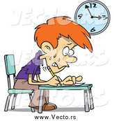 Vector of a Cartoon Worried School Boy Taking an Exam by Toonaday