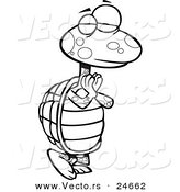 Vector of a Cartoon Yoga Tortoise in a Pose - Outlined Coloring Page by Ron Leishman