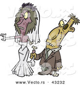 Vector of a Cartoon Zombie Bride and Groom by Toonaday