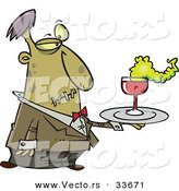 Vector of a Cartoon Zombie Waiter Serving Drinks at Halloween Party by Toonaday