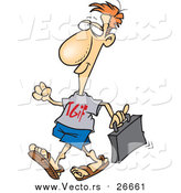 Vector of a Casual Work Day Business-Man Wearing TGIF Shirt - Cartoon Version by Toonaday