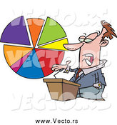 Vector of a Caucasian Business Man Standing at a Podium, Discussing a Pie Chart by Toonaday