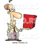 Vector of a Caucasian Businessman Holding a Red Box and Thinking by Toonaday
