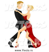 Vector of a Caucasian Couple Tango Dancing Arm in Arm by BNP Design Studio