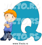 Vector of a Caucasian Kid Letter Q with a Little Boy by BNP Design Studio
