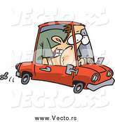 Vector of a Caucasian Man Squished into a Tiny Compact Mini Car by Toonaday