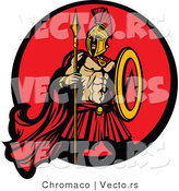 Vector of a Challenging Spartan Armed with a Spear and Shield Within a Circle Icon by Chromaco