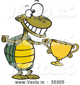 Vector of a Champion Cartoon Turtle Holding a Gold Trophy While Smiling Big by Ron Leishman