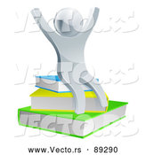 Vector of a Cheering Silver White Character Sitting on Stack of Books - 3d Style by AtStockIllustration