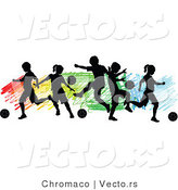 Vector of a Children Playing Soccer over Colorful Background - Silhouette by Chromaco