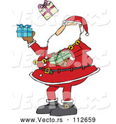 Vector of a Christmas Cartoon Santa Claus Juggling Wrapped Gifts by Djart