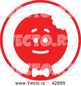 Vector of a Christmas Gingerbread Man in Red Circle by Zooco