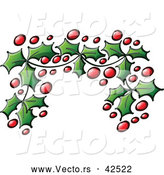 Vector of a Christmas Holly Leaves and Berries Border by Zooco