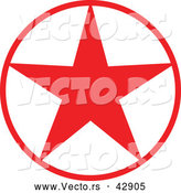 Vector of a Christmas Star in Red Circle by Zooco