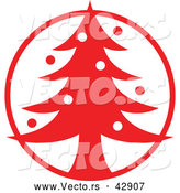 Vector of a Christmas Tree in Red Circle by Zooco