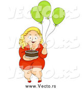 Vector of a Chubby Blond Woman Carrying a Birthday Cake and Balloons by BNP Design Studio