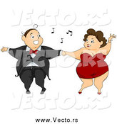 Vector of a Chubby Caucasian Couple Having Fun on a Dance Floor by BNP Design Studio