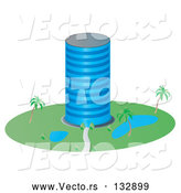 Vector of a Circular Building with Ponds and Palm Trees in the Landscape by Rasmussen Images