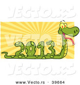 Vector of a Coiled Snake 2013 with Sun Rays by Hit Toon