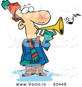 Vector of a Cold Cartoon Man Playing a Horn Outside in Winter Weather by Toonaday